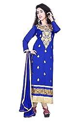 styllaz creation blue cotton chanderi embrodaired dress maerial