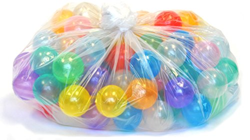 200 Phthalates Free 10 Colors Non-Toxic Non-Recycled Clear Invisiball Crush Proof Play Balls w/ FREE Polka Dot Hexagon Pen