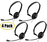 Panasonic 4 Pack Hands-Free Headset with Foldable Comfort Fit, Lightweight Headband & Flexible, Optimum Voice Microphone For The Panasonic KX-TG8522EB - KX-TG8523EB & KX-TG8524EB Digital Cordless Phone Set with Answer Machine