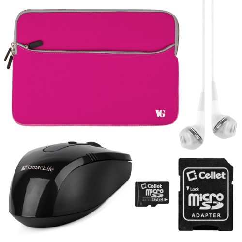 Vg Neoprene Zipper Sleeve Cover (Magenta Gray Trim) For Dell Xps 12 Convertible Ultrabook / Dell Latitude 12.5 Inch Laptops + White Vg Stereo Headphones With Mic + Black Sumaclife Wireless Usb Mouse And Adapter + Cellet 16Gb Memory Card & Sd Adapter
