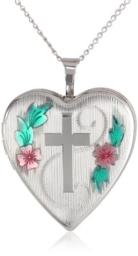 Sterling Silver Cross with Flowers and Leaves Heart