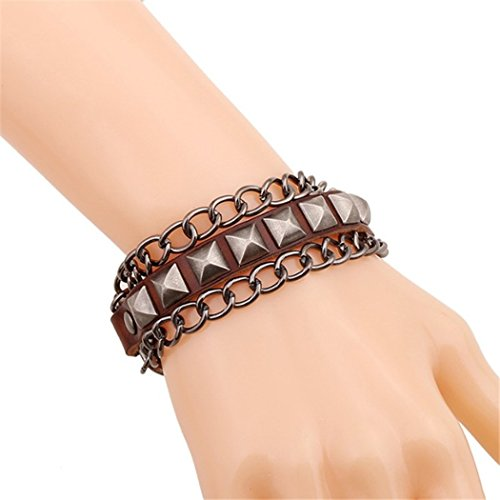 Time Pawnshop Retro Punk Rivet Chain Handmade Leather Wrap Bracelet (Vogue Tires 15 compare prices)