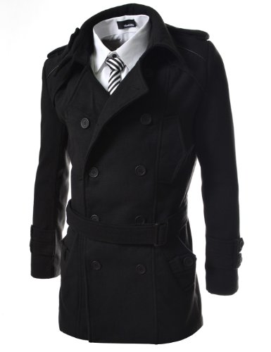 TheLees Mens double belted trench coat Black X-Large(US Large)