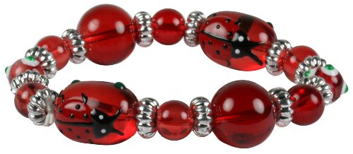 Bright Red Hand-Painted Ladybug Kids Stretch Bracelet