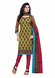 Aarti Apparels Women's Cotton Unstitched Dress Material_BeautyQueen-10_Pink and Brown
