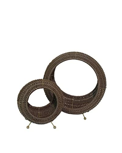 Three Hands Set of 2 Woven Baskets, Brown