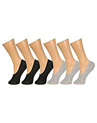 Gumber Pack of 6 Pairs of Black & Grey Solid No Show Socks(GE_LOAFER_BLK_BLK_BLK_GRY_GRY_GRY)