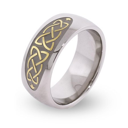 Gold and Silver Celtic Knot Comfort Fit Band Size 8 (Sizes 5 6 7 8 9 10 11 12 13 Available)