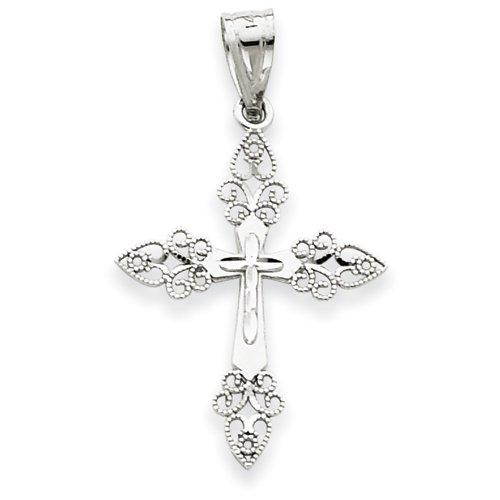 14k White Gold Filigree Cross Pendant