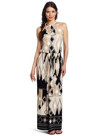Donna Morgan Women's Mushroom Pleated Halter Maxi Dress, Warm Clay, 14