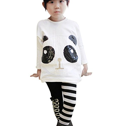 Fashion Kid Toddler Clothes Girl Princess Sequined Panda Shirt Tops Sz 2-7Y
