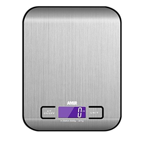 Amir Balance de Cuisine Electronique, 5kg/1g, Balance Numérique Cuisine, de Haute Précision Tactile Sensible, Écran LCD Rétroéclairé(Acier Inoxydable&noir)