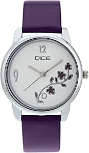 "DICE ""Grace 8819"" Fashionable, Elegant, Contemporary, Tasteful and attractive Watch for women. White Dial, Silver case and Anti allergic Leather Strap."