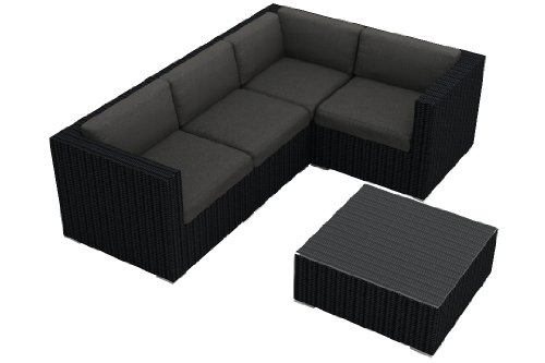 Harmonia Living Urbana 5 Piece Patio Wicker Sofa Sectional Set with Gray Sunbrella Cushions (SKU HL-URBN-5SECT-CC) photo