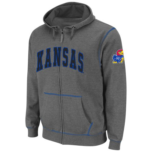 NCAA Kansas Jayhawks Blackout Full-Zip Fleece Hoodie, Heather Charcoal, XX-Large Amazon.com