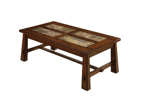 Furniture Of America Hodges Coffee Table With Marble Tile Insert Top, Tobacco Oak Finish