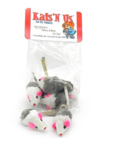 Image Rabbit Fur Mouse with Rattle - 5 Pak