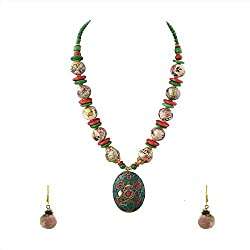 Zephyrr Fashion Pendant Necklace Handmade Inlay Work Tibetan Style for Women