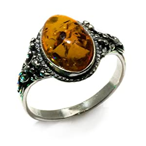 Certified Genuine Honey Amber and Sterling Silver Classic Oval Ring, Sizes 5,6,7,8,9,10,11,12