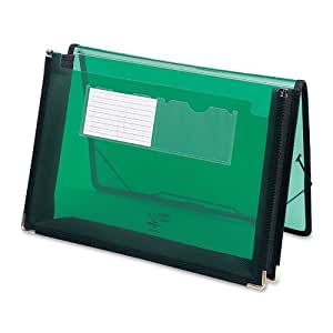 """Smead Poly Wallet, 2-1/4"""" Expansion, Flap and Cord Closure, Letter Size, Green (71951)"""