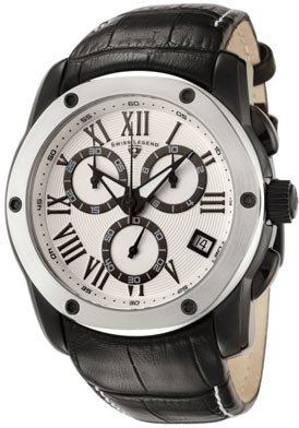 Swiss Legend Men&#8217;s 10005-BB-02S-SB Traveler Collection Chronograph White Dial Black Leather Watch