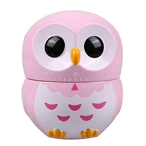 KIMICARE Chef 60 Minites Manual Owl Kitchen Cooking Timer Professional Chef Mechanical Lovely Animal Owl Timers With Long Ring Alarm, Pink (Kitchen Timer Kitchen Aid compare prices)