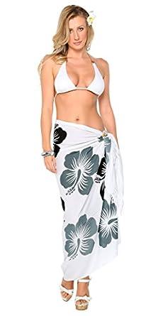 1 World Sarongs Womens Hawaiian Swimsuit Cover-Up Sarong in Black, Gray/White