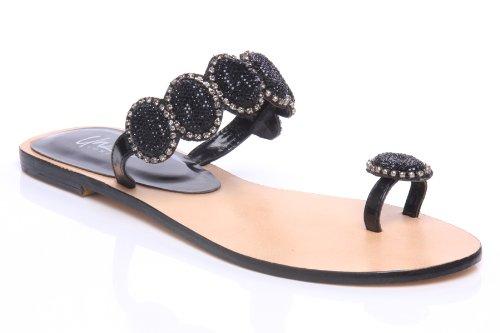 Cheap Unze Women Circled Embellished Thong Flat Evening, Formal, Party, Beach Slipper Shoes – Ab-3244l (B007VKZTJE)
