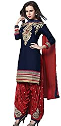 Vivacity Women's Cotton Unstitched Dress Material (Singles-1_Blue_Free Size)