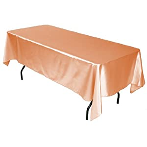 LinenTablecloth 60 x 102-Inch Rectangular Satin Tablecloth Peach by LinenTablecloth