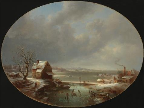 'Regis Francois Gignoux,Winter,1853' Oil Painting, 12x16 Inch / 30x41 Cm ,printed On High Quality Polyster Canvas ,this Amazing Art Decorative Canvas Prints Is Perfectly Suitalbe For Gym Artwork And Home Gallery Art And Gifts