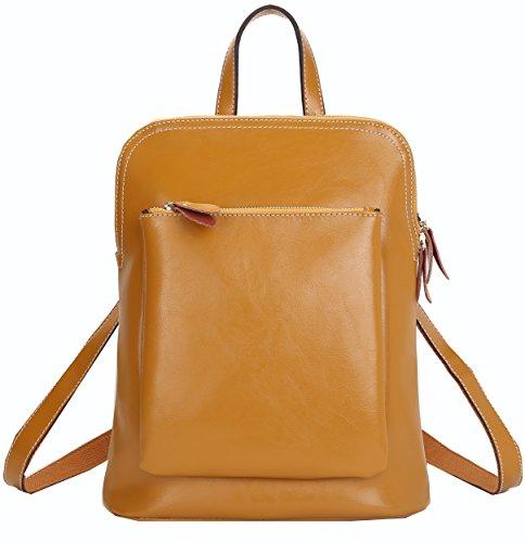 Heshe Fashion Genuine Leather Office Ladies School Girl Backpack Purse Handbag Shoulder Bag (Brown) front-10922