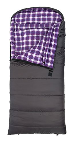 TETON Sports Fahrenheit Regular for Women COTTON Flannel Lined Sleeping Bag 0 Degree F (80″x33″, Grey, Right Zip)