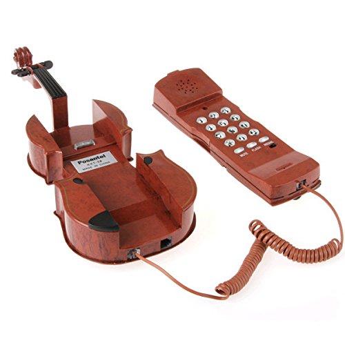 Dashuhuwai (Tm)Creative Cute Violin Shaped Telephone Phone For Home Novelty Item With Comfortable Plastic Keypad