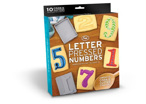 Fred & Friends LETTER PRESSED Number-Style Cookie Cutter/Stampers, Set of 10