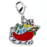 Platinum Plated Silver Colour Lobster clasp Christmas Sleigh clip on Charm fits Tiffany Thomas Sabo Juice Culture