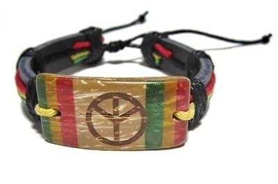 Rasta Peace Bracelet - Black Leather Bracelet - Coconut Piece Hand Painted -Jamaican Bracelet - Rastafari
