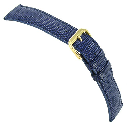 17Mm Debeer Lizard Grain Navy Blue Padded Stitched Handcrafted Watch Band