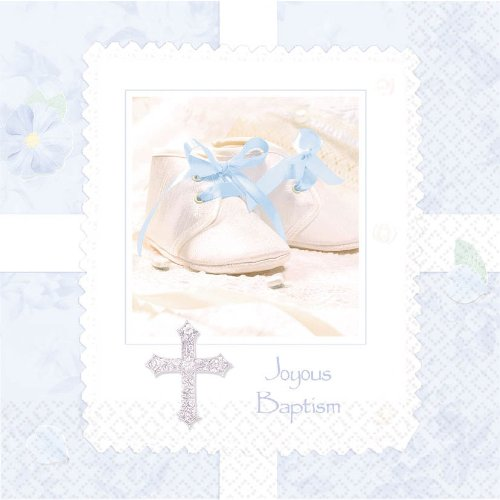 Tiny Blessing Blue Baptism Luncheon Napkins Baby Shower Party Supplies 16ea