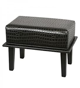 "Rectangular Faux Leather Ottoman (Black Alligator) (17.5""H x 24""W x 16""D)"