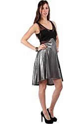 G2 Chic Women's Metallic Hi Lo Dress with Sleeveless Mesh Top