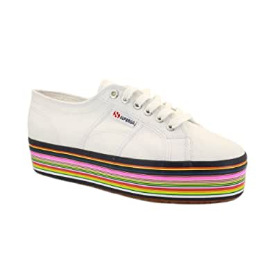 Superga vs House of Holland 2790 Womens Laced Canvas Platform Trainers White - 8