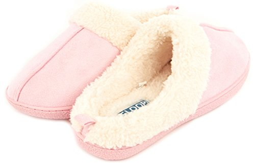 Floopi Womens Indoor Outdoor Fur Lined Clog Slipper W/Memory Foam (M, Pink-CS101)