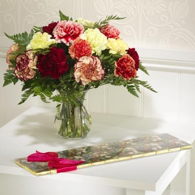 18 Carnations with 24 Milk Chocolates
