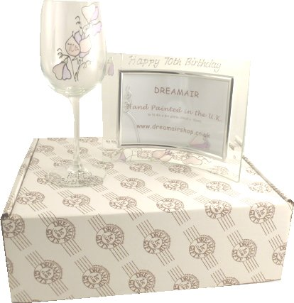 90th Birthday Sweet Pea Wine Glass and Frame Gift Set
