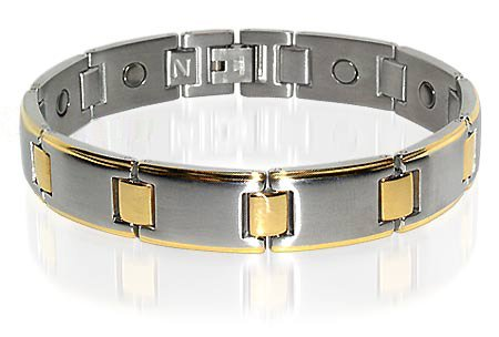 Stainless Steel 2 Tone Mens Golf Magnetic Bracelet 8.5″
