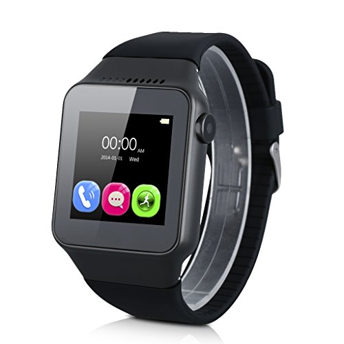 Excelvan Bluetooth Smart Watch with Camera Unlocked SIM Phone Watch Sync Call Music Reminder Anti-lost Phone Mate for Android IOS Smartphone (Black)