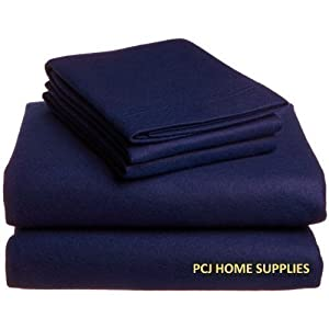 King Size Bed Navy Blue Cotton Percale Fitted Sheet