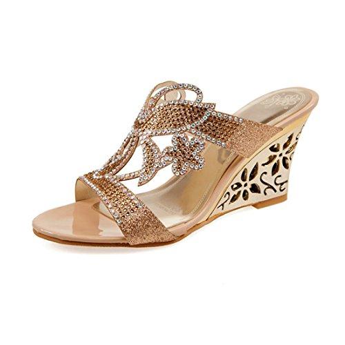 Milesline Summer Rhinestone Shoes Women's Peep Toe Cut-out Wedge Heel Evening Slide Sandals