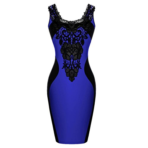 Zeagoo Womens Style Floral Lace Contrast Cocktail Party Bodycon Dresses